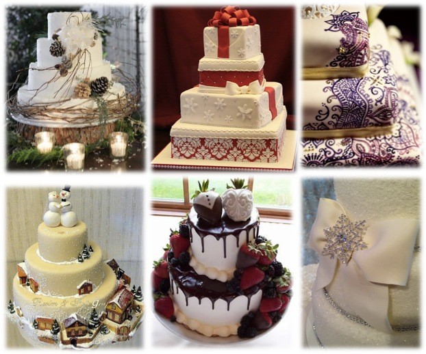 winter wedding cake montage
